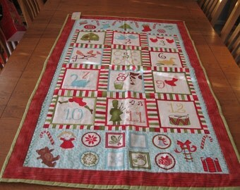 Sale 12 Days of Christmas Modern Quilted Wall Hanging