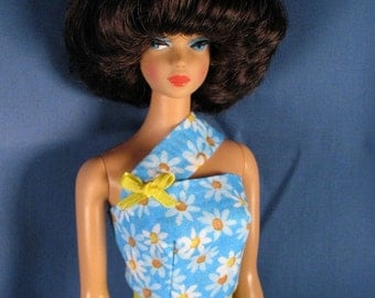 Barbie Doll Clothes Turquoise One Shoulder Minidress