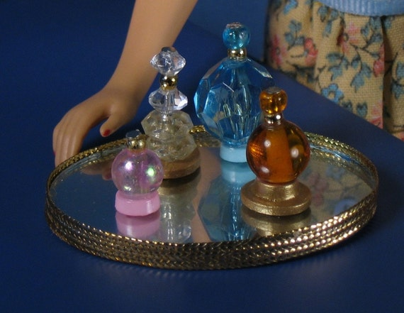 Barbie Sized Perfume Bottles and Mirror Vanity Tray Set 1
