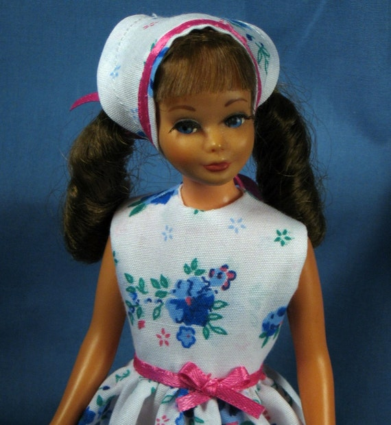 Skipper Clothes - Blue Roses Party Dress with Kerchief