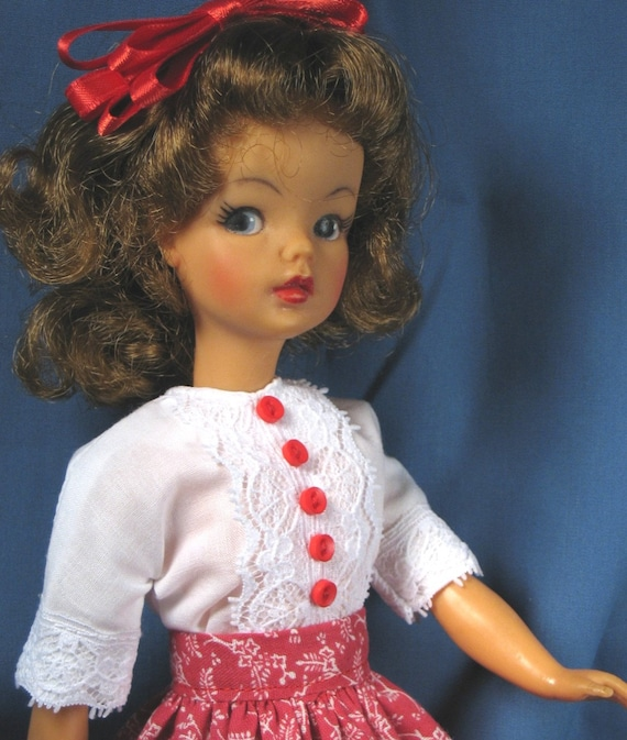 Tammy Clothes - White Blouse and Red Skirt Set