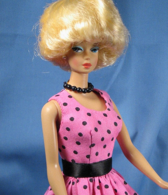 Barbie Clothes - Pink and Black Dotted Dress with Jewelry