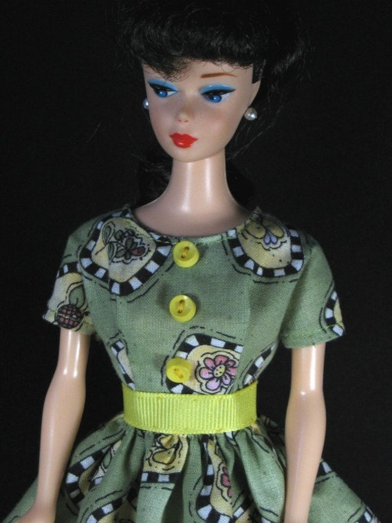 Barbie Doll Clothes - Green Print Day Dress