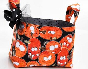 Trick or Treat basket candy bucket orange silly pumpkins