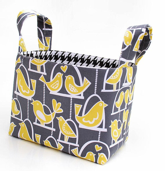 SALE SALE SALE Fabric Organizer Basket Bin Reversible grey and yellow