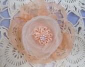 OOAK Peaches and Cream Lolipop Rose Hair Clips
