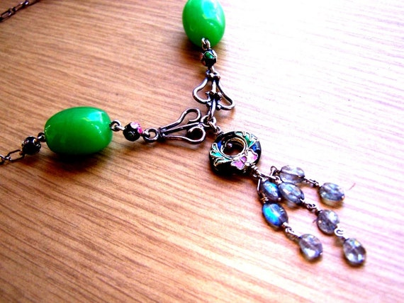 Empress Of Asia Jade Cloissone Labradorite Sterling Silver Necklace...from 140usd