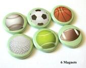 Teacher Coach gifts Sports Balls MAGNETS Soccer Basketball Golf Football Tennis Baseball party favors stocking stuffer back to school pins