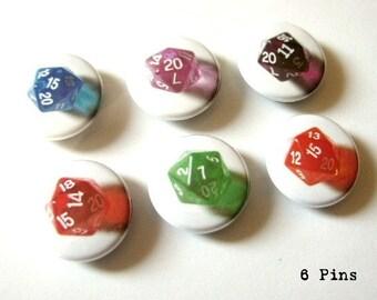 1 inch PINBACKS PINS Badges Geekery Set of 6 D20 Dice pinback buttons polyhedral rpg gamer stocking stuffer flair geek nerd d&d party favors