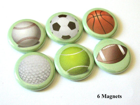 Teacher Coach gifts for him Sports Balls MAGNETS Soccer Basketball Golf Football Tennis Baseball party stocking stuffer back to school pins