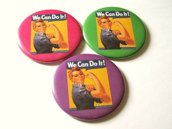 Set of 3 Hand or Pocket MIRRORS we can do it Rosie the Riveter party favor fashion accessory shower gifts stocking stuffers girl power flair
