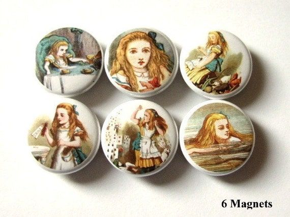 Cute Alice fridge refrigerator MAGNETS 1 inch drink me fantasy party favor stocking stuffer shower gifts pinbacks housewarming