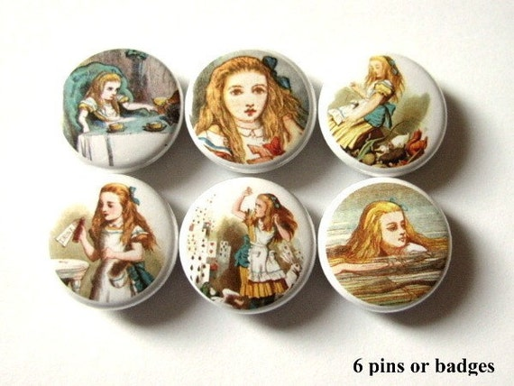 "Alice in Wonderland PINS BADGES BUTTONS 1"" drink me pinback party favors stocking stuffers shower gifts flair drink me accessories magnets"