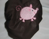 One Size Embroidered Brown PUL Cloth Diaper