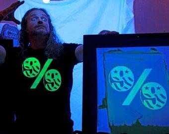 Glow in the dark 99% screenprint Tee shirt - pick your size!