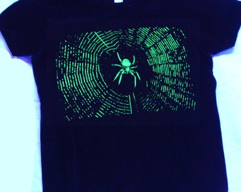 Glow in the Dark Spider and Spiderweb T-shirt Youth Sizes 8 & 12