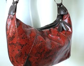 Sale was 175.00 now 69.95 Anxiety Hobo In Brown Leather With Red Silk Screen
