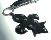 Fleur-de-lis Key Chain/Bag Charm In Matte Black Leather