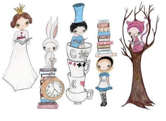Alice In Wonderland Reading Print
