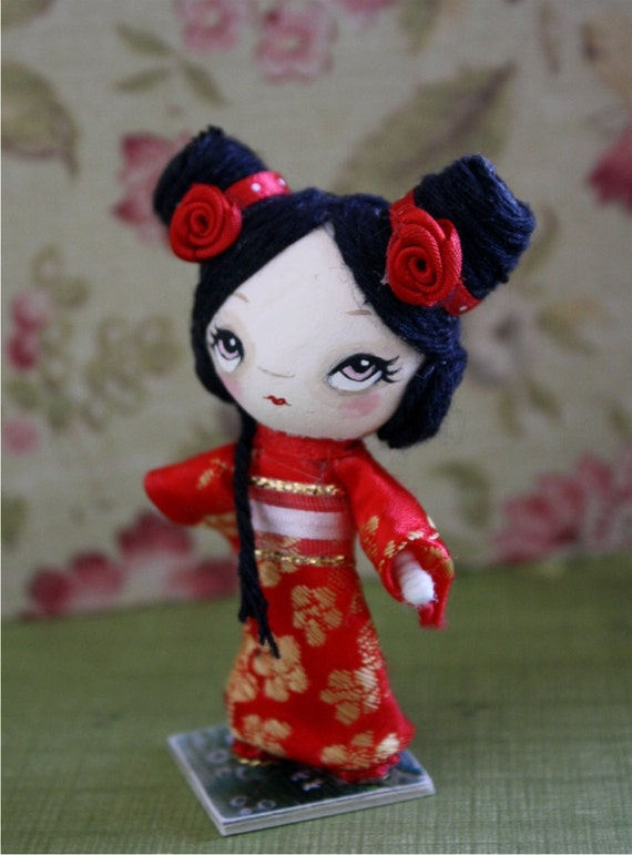 Geisha Doll---Paper Mache OOAK Art Doll--- Rose