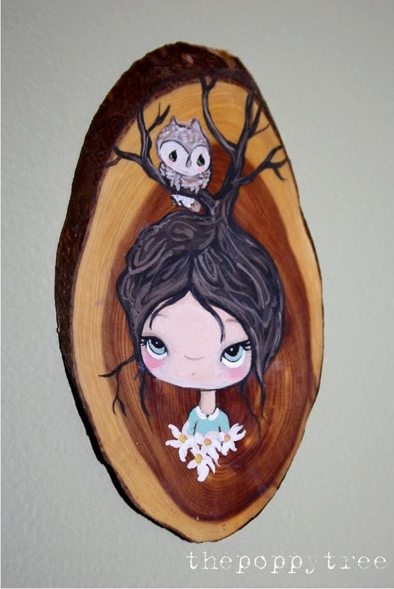 Tree Girl Owl Original Painting Oval Wood 3 x 5