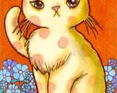 Austere Polka-Dot Cat - Original art ACEO