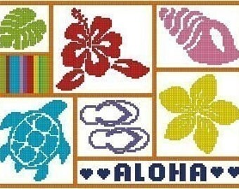 Hawaii Sampler Cross Stitch Chart Pattern PDF