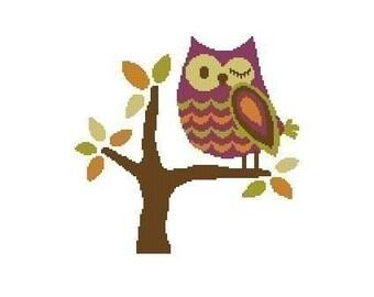 Winking Owl Cross Stitch Chart Pattern PDF