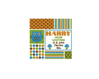 Custom Owl Baby Name Birth Record Cross Stitch Chart Pattern PDF