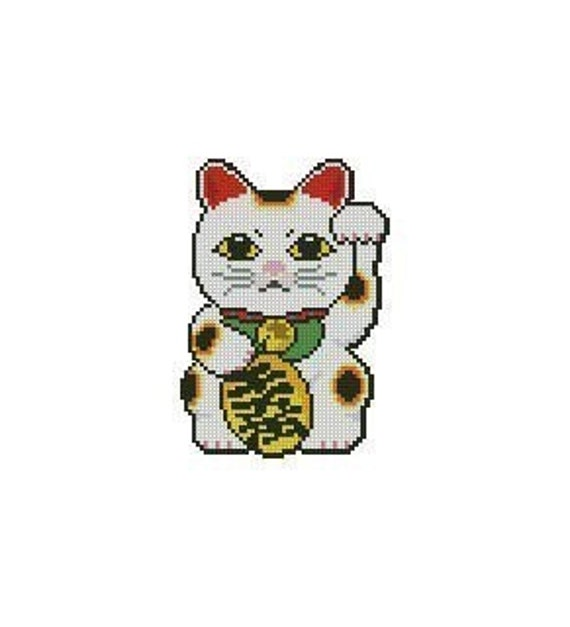 Japanese Maneki Neko Lucky Cat Cross Stitch Chart Pattern PDF
