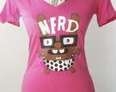 SUPER SALE: Nerd character ladies or youth cotton t-shirt in hot pink - size LARGE