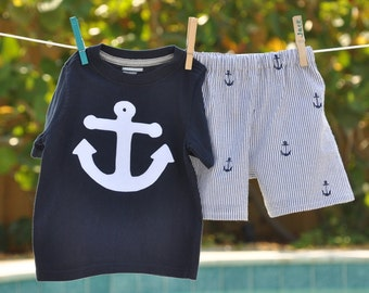 Boys size 5-8 Nautical Anchor Seersucker Shorts Shirt Outfit Boutique Custom Maddie Kate