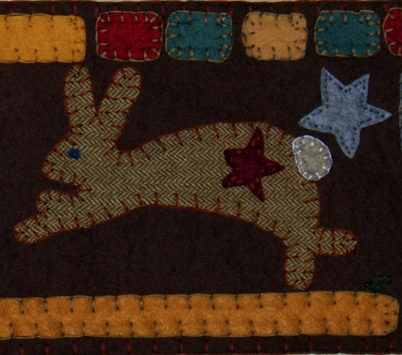 Items Similar To Bunny And Snowman Primitive Penny Rug On Etsy