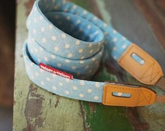 Twiggy-Twiggy Blue Dot Leather Camera Strap