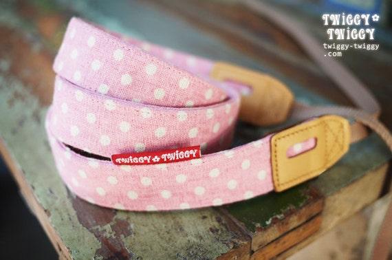 Twiggy-Twiggy Pink Dot Leather Camera Strap