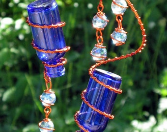 Glass Garden Art Suncatcher - Set of 2 Little Blue Spirit Bottles With Copper Wire Wrapped Iridescent Sky Blue Glass Marble Prisms