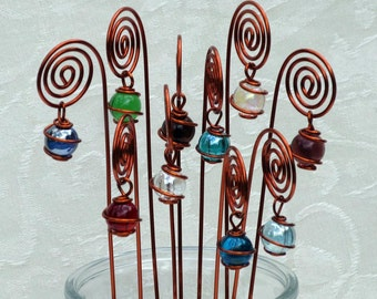Spiral Table Number, Photo or Card Holders, Plant Picks, Set of 10 in Copper with Wire Wrapped Glass Marble Prisms