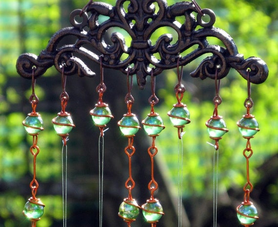 Windchime / Wind Chime with Recycled Aluminum and Copper Wrapped Iridescent Spring Green Glass Marble Prisms