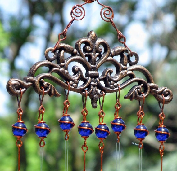 Windchime / Wind Chime with  Recycled Aluminum and Copper Wrapped Cobalt Blue Glass Marble Prisms