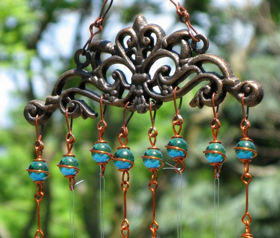 Windchime / Wind Chime with Recycled Aluminum and Copper Wire Wrapped Teal Glass Marble Prisms