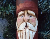 Hand Carved Antique Maine Fishing Float Santa-Brick Red