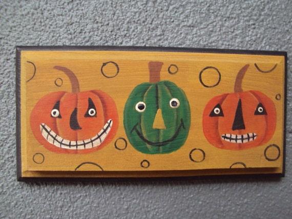 Primitive Halloween Jack o' Lantern Art, Hand Painted Wood Plaque