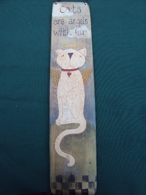 Primitive Painted Cat Pallet Sign Sale