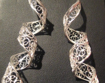 Strips - SIlver Filigree Earrings