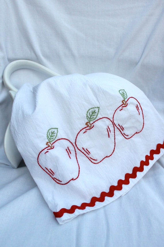 Apples Hand Embroidered Tea Towel