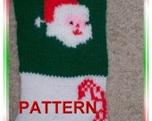 Santa With Candy Canes Christmas Stocking Knitting Pattern