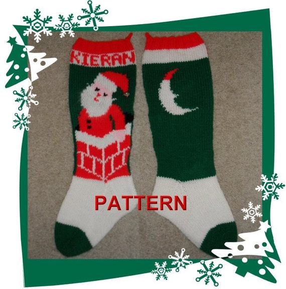 Knitting Christmas Stocking Pattern : Santa In Chimney Christmas Stocking Knitting Pattern