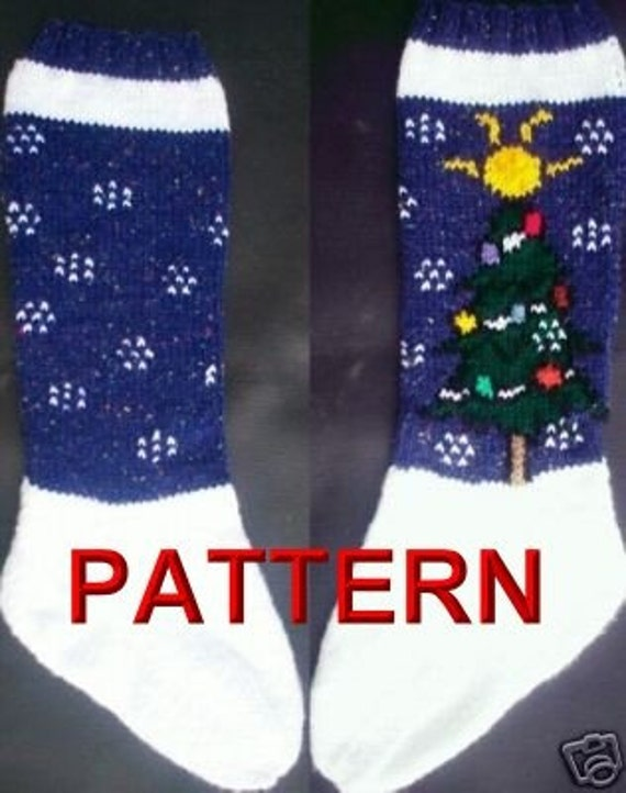 Tree And Snow Flakes Christmas Stocking Knitting Pattern