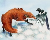 Fox and Magpie print  'A Lover's Tiff'