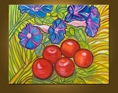 Morning Glories and Tomatoes -- 16 x 20 inch original oil painting Ready to Hang